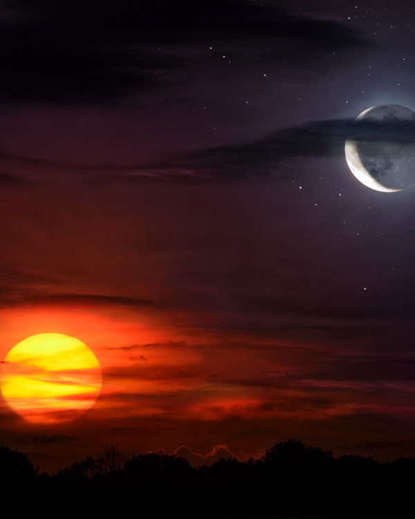 Sun and moon together on the sky symbolizing time